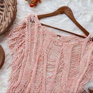 FREE PEOPLE Fringe Distressed Pink Knit Size Med
